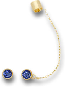 Blue Sapphire and Gold Stud, Cuff and Chain Set