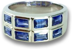 Blue Sapphire and White Gold Pinky Ring
