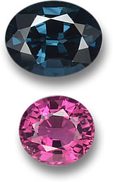 Greenish-Blue Spinel and Vivid Pink Tourmaline Gems