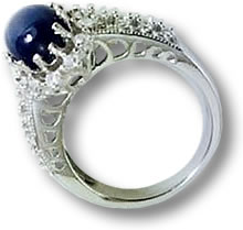 Blue Star Sapphire Silver Ring