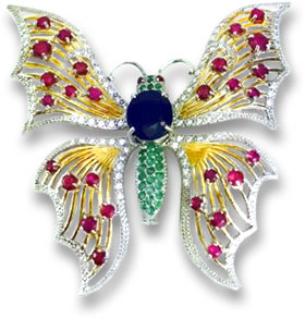 Colored Gemstone Butterfly Brooch