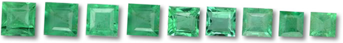 Calibrated Square Emerald gems