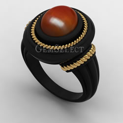 Black Metal Carnelian Ring with Yellow Gold Detail