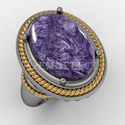 Silver Charoite Ring with Gold Detail