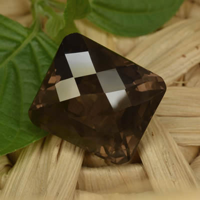 Octagonal, Checkerboard-Cut Smoky Quartz Gemstone
