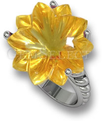 Carved Citrine Flower Ring