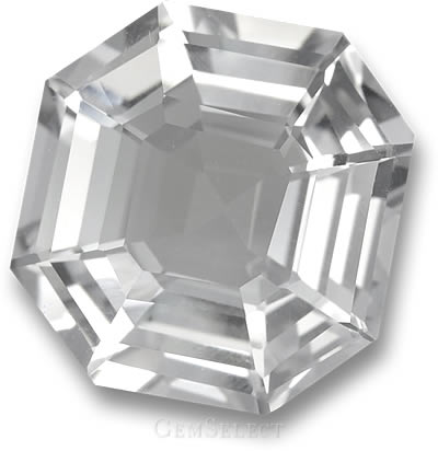 Asscher-Cut Clear White Quartz Gemstone