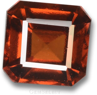 Transparent, Faceted Hessonite Garnet Gemstone
