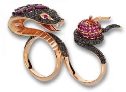 "Black Diamond and Ruby ""Temptation of Eve"" Two Finger Ring by Stephen Webster"