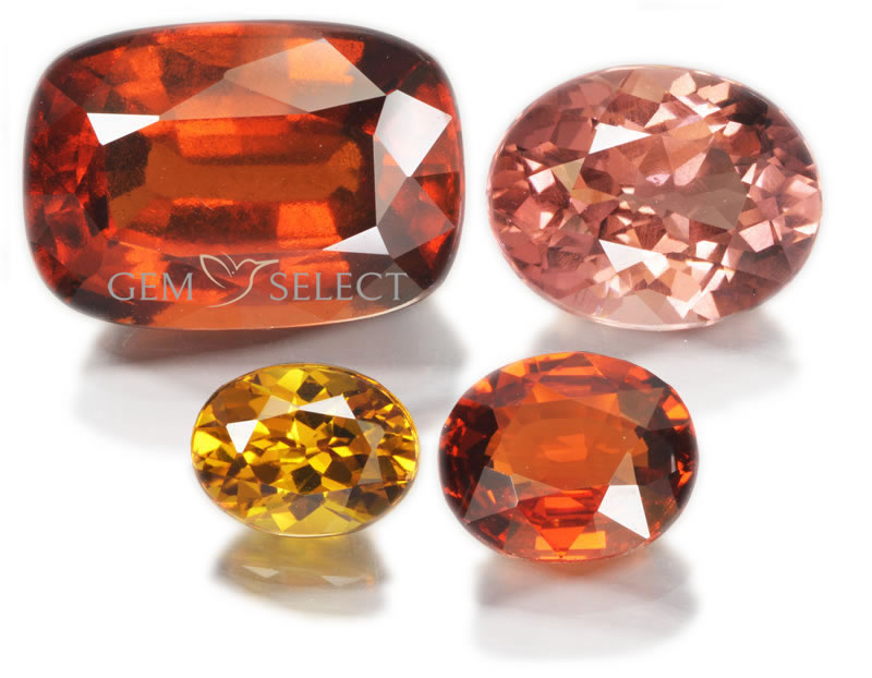 Garnet Gemstone Photo of Four Gems - Large Image