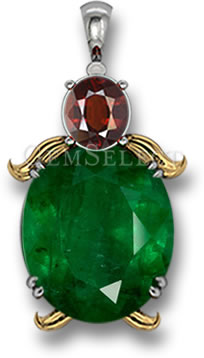 Pendant with Complementary Colors: Green Emerald and Red Pyrope Garnet