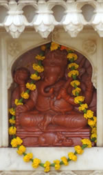 Carved Coral Ganesh Statue