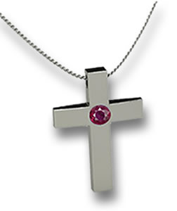 Silver Cross Pendant with Inlaid Ruby