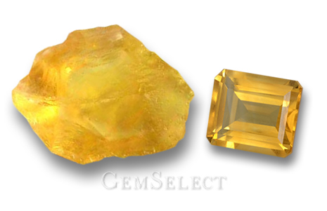 Rough Citrine and Faceted Citrine Gemstone