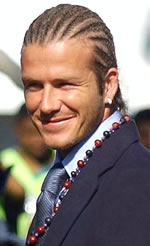 David Beckham with Cornrows, Diamond Hoop Earrings and a Beaded Necklace