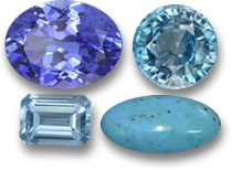 December Birthstones: Tanzanite, Blue Zircon, Blue Topaz and Turquoise