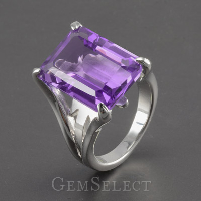 Emerald-Cut Amethyst Silver Ring
