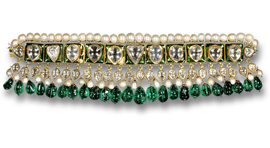 Emerald Drop, Diamond and Pearl Choker
