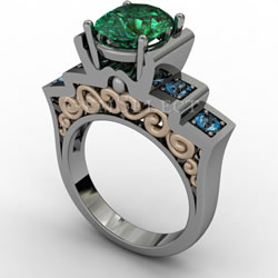 Emerald Ring with Blue Accent Stones and Gold Detail