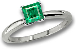 Square Emerald Solitaire Platinum Ring