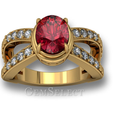 Oval Red Spinel Solitaire Ring