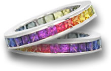 Multicolored Sapphire Wedding Bands