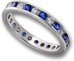 Channel-Set Blue Sapphire and Diamond Eternity Ring