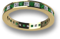 Emerald and White Sapphire Eternity Ring