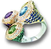 Fancy Multi-Gem Cocktail Ring
