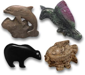 Gemstone Animal Carvings: Tiger's Eye, Ruby-Zoisite and Jasper