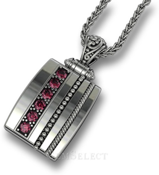 Dad's Dog Tag-Style Gemstone Necklace