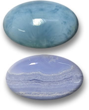Larimar and Blue Agate Cabochons