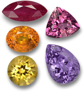 Fiery Colored Gems: Ruby, Pink Tourmaline, Orange Sapphire, Amethyst and Golden Beryl