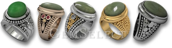 Silver and Gold Jadeite Rings by GemSelect