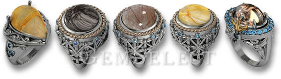 GemSelect Silver Rutilated Quartz Rings
