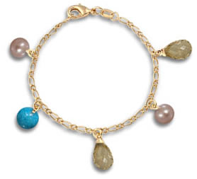 Yellow Gold and Gemstone Bead Charm Bracelet