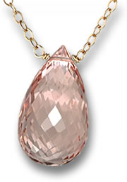 Gold Necklace with Morganite Briolette Pendant