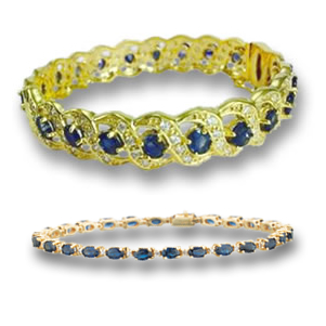 Gold, Blue Sapphire and Diamond Bracelets