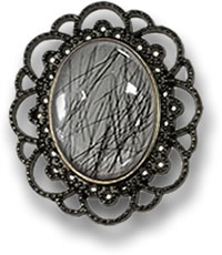 Black Rutile Quartz Brooch