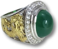 Green Agate Pinky Ring with Gold Dragon Detail