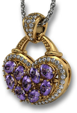 White Gemstone Halo on a Heart-Shaped Gold Amethyst Pendant