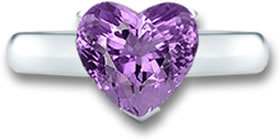 Heart-Shaped Amethyst & White Gold Ring