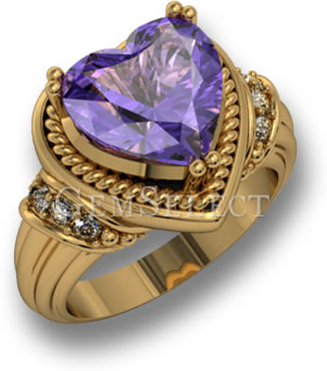 Heart-Shaped Amethyst & Yellow Gold Ring