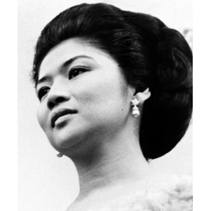 Young Imelda Marcos Wearing Pearl Earrings