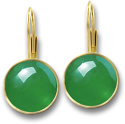 Imperial Jadeite and Yellow Gold Drop Earrings