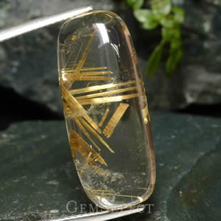 Quartz Gemstone with Golden Rutile Inclusions