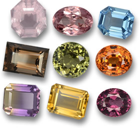 Some Affordable Gemstones: Rose Quartz, Zircon, Topaz, Smoky Quartz, Tourmaline, Spessartite, Ametrine, Citrine and Rhodolite