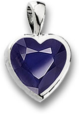 Iolite & Platinum Heart-Shaped Pendant