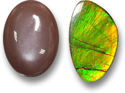 Moonstone (Left) and Ammolite (Right) Gems