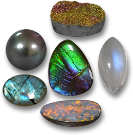 Iridescent Gems: Rainbow Pyrite, Moonstone, Opal Doublet, Labradorite, Pearl and Ammolite